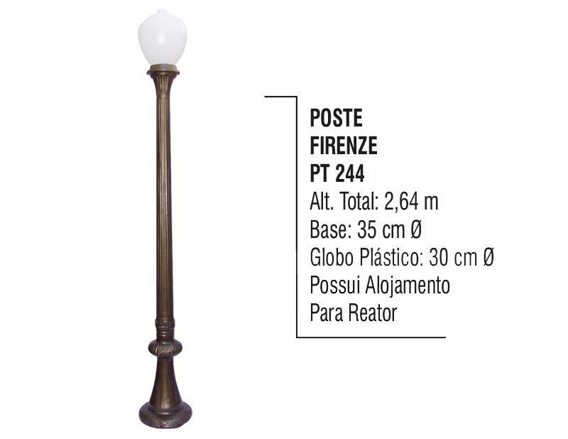 Poste Colonial Firenze P/ Jardim de Alumínio 01 Globo 2,64m  - Panela de Ferro Fundido