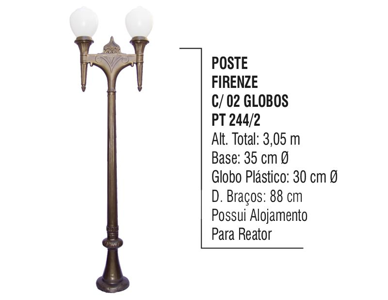 Poste Colonial Firenze P/ Jardim de Alumínio 02 Globo 3,05m