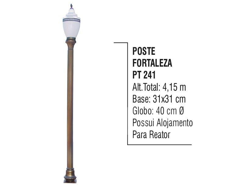 Poste Colonial Fortaleza Jardim de Alumínio 01 Globo 4,15m  - Panela de Ferro Fundido