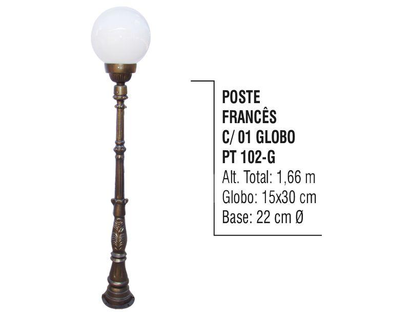 Poste Colonial Francês Jardim De Alumínio 01 Globo 1,66m  - Panela de Ferro Fundido