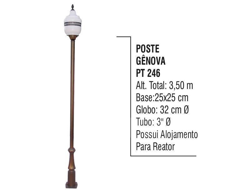 Poste Colonial Gênova para Jardim de Alumínio 3,50m  - Panela de Ferro Fundido