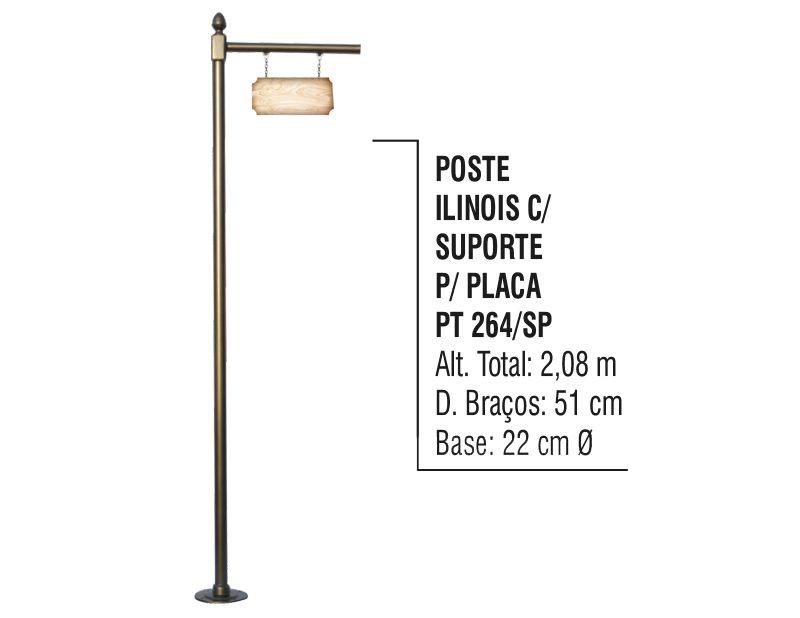 Poste Colonial Ilinois para Jardim Alumínio C. S.placa 2,08m  - Panela de Ferro Fundido
