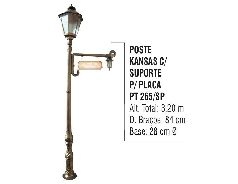 Poste Colonial Kansas para Jardim Alumínio C. S. Placa 3,20m  - Panela de Ferro Fundido