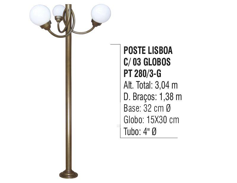 Poste Colonial Lisboa para Jardim Alumínio 03 Globo 3,04m  - Panela de Ferro Fundido