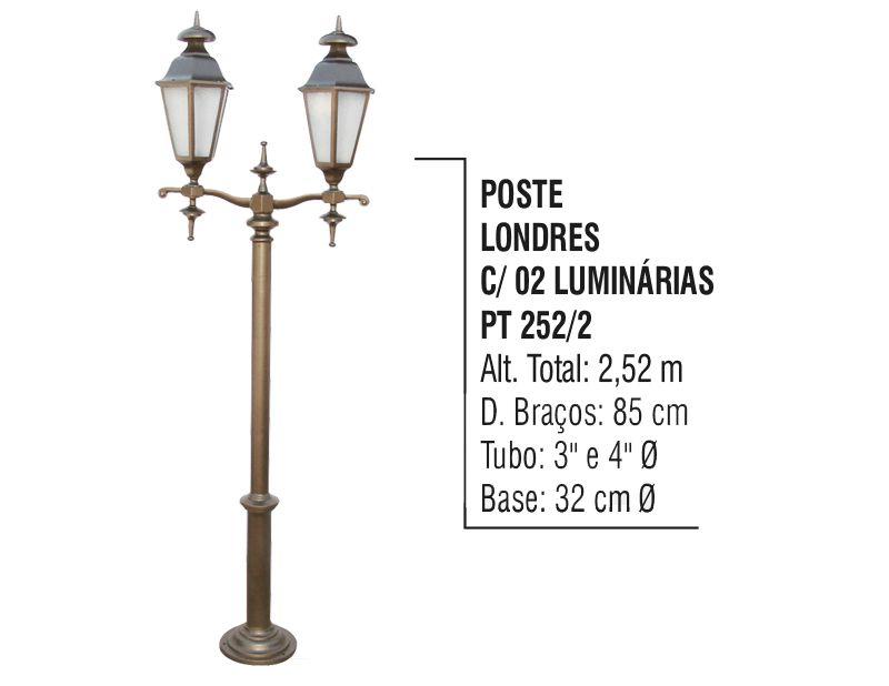 Poste Colonial Londres Jardim Alumínio 02 Luminárias 2,52m