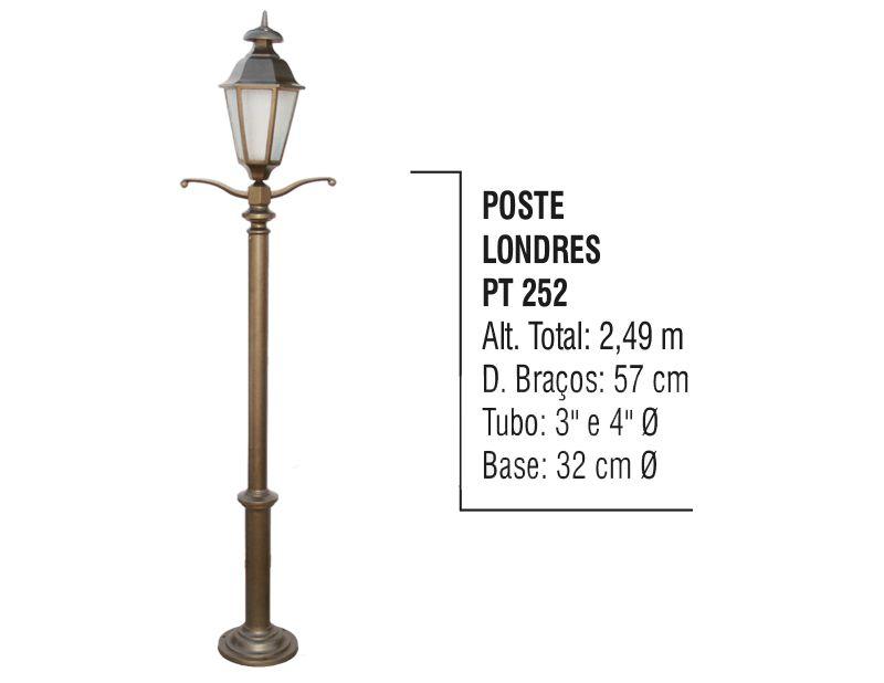 Poste Colonial Londres Jardim de Alumínio 01 Luminária 2,49m  - Panela de Ferro Fundido