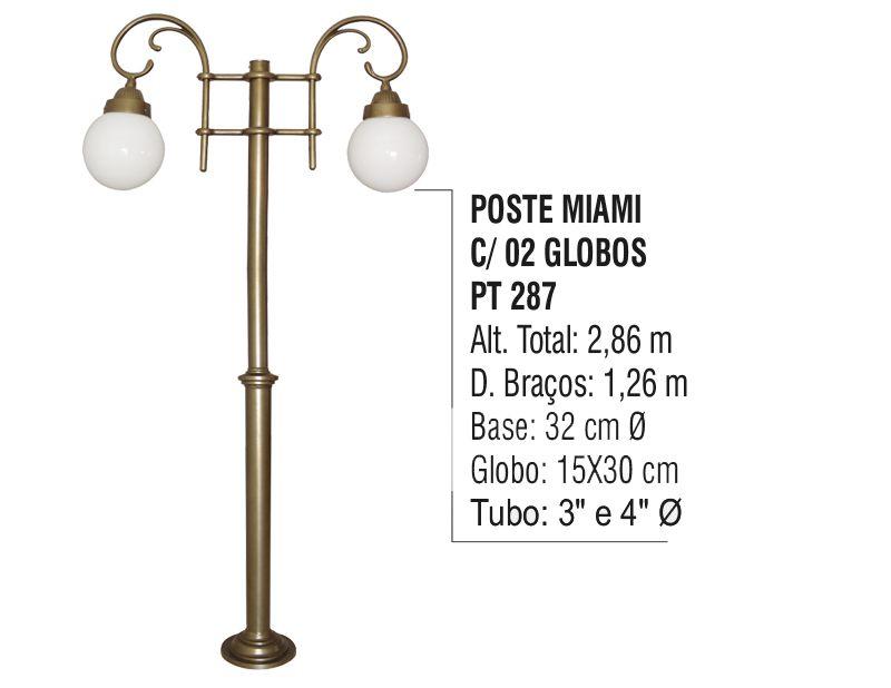 Poste Colonial Miami para Jardim de Alumínio 02 Globos 2,86m  - Panela de Ferro Fundido