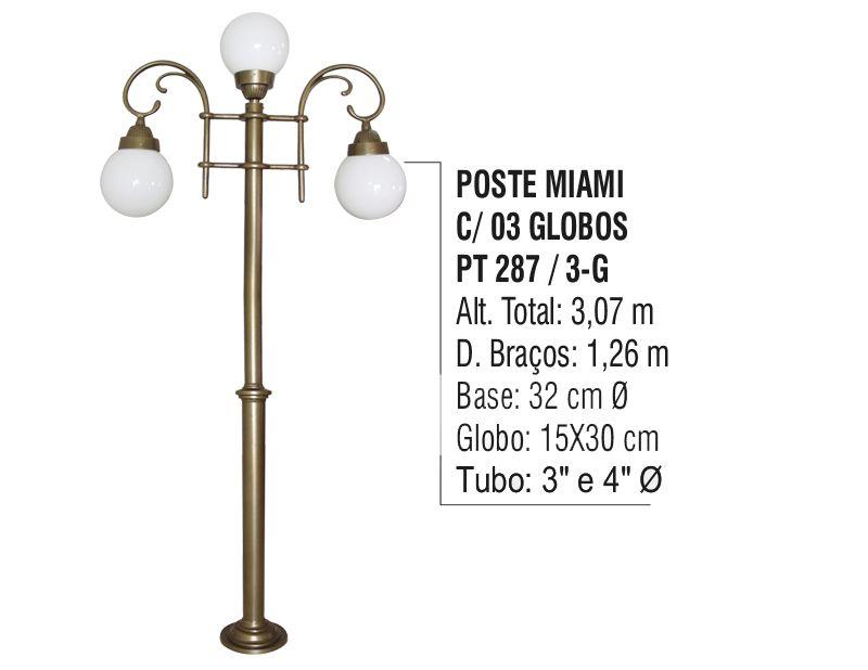 Poste Colonial Miami para Jardim de Alumínio 03 Globos 3,07m  - Panela de Ferro Fundido