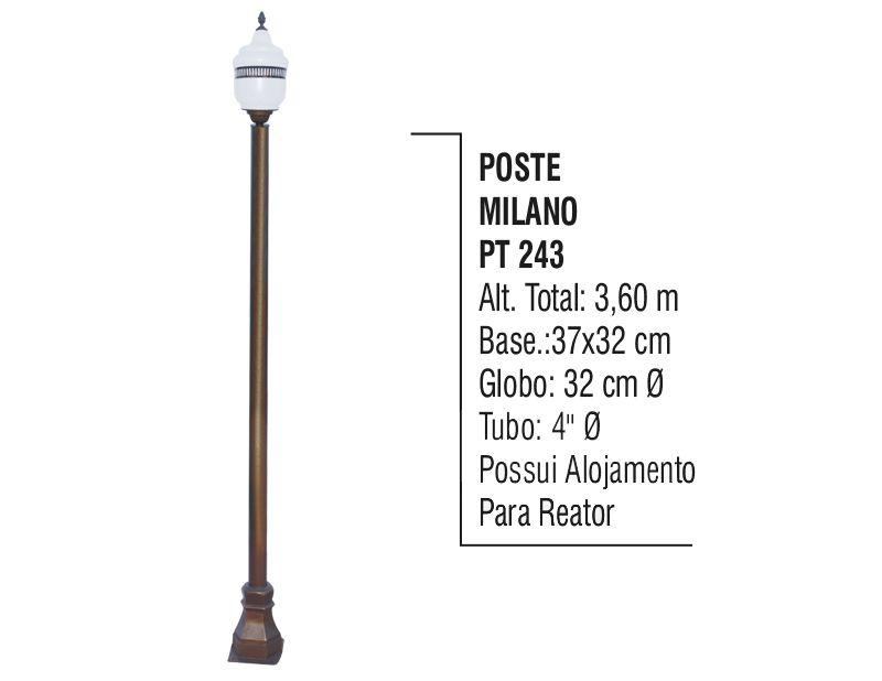 Poste Colonial Milano para Jardim de Alumínio 3,60m  - Panela de Ferro Fundido