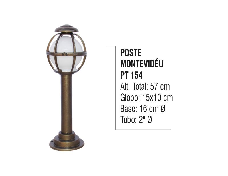 Poste Colonial Montividéu para Jardim Tubo de Alumínio 57cm  - Panela de Ferro Fundido