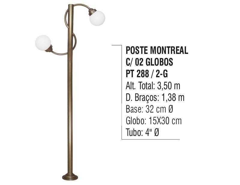 Poste Colonial Montreal para Jardim Alumínio 02 Globos 3,50m