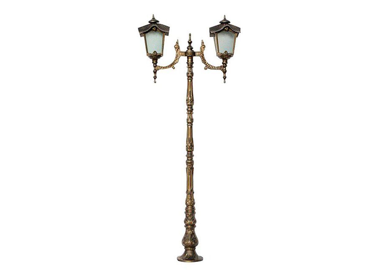 Poste Colonial Porto para Jardim Alumínio 02 Luminária 2,15m  - Panela de Ferro Fundido