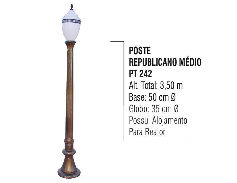 Poste Colonial Republicano Jardim de Alumínio 01 Globo 3,50m