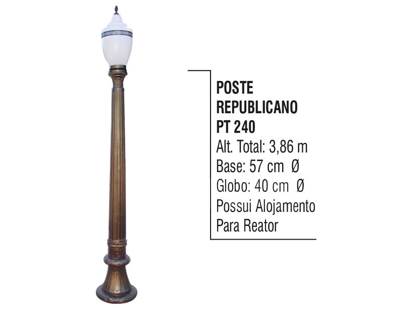 Poste Colonial Republicano Jardim de Alumínio 01 Globo 3,86m  - Panela de Ferro Fundido