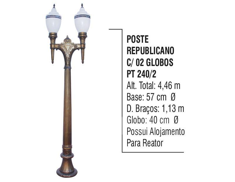 Poste Colonial Republicano Jardim de  Alumínio 02 Globo 4,46m  - Panela de Ferro Fundido