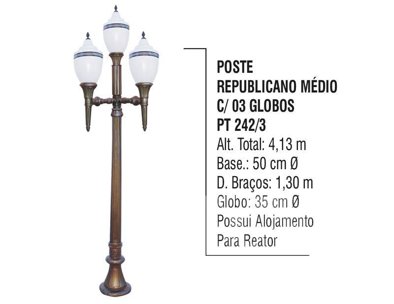 Poste Colonial Republicano Jardim de Alumínio 03 Globo 4,80m  - Panela de Ferro Fundido