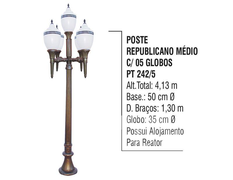 Poste Colonial Republicano Jardim de  Alumínio 05 Globo 4,13m  - Panela de Ferro Fundido
