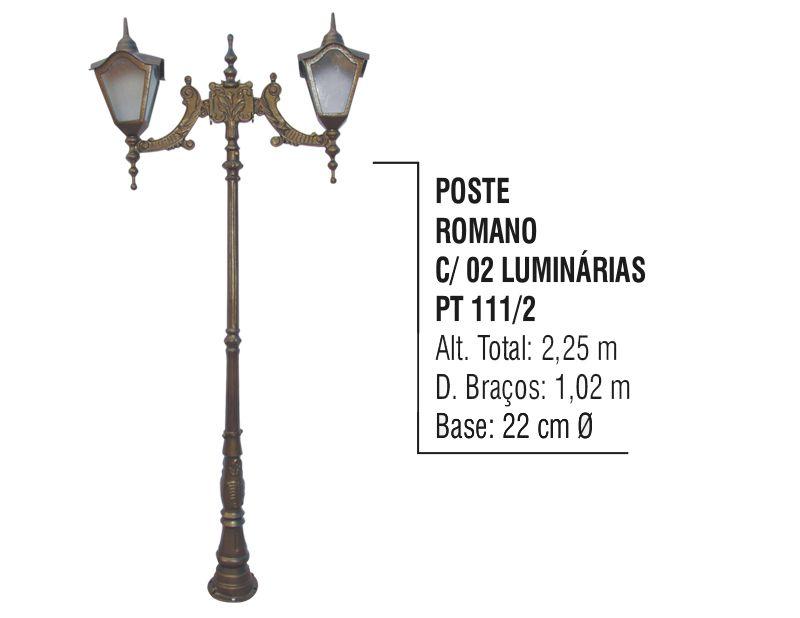 Poste Colonial Romano Jardim de Alumínio 02 Luminária 2,25m  - Panela de Ferro Fundido