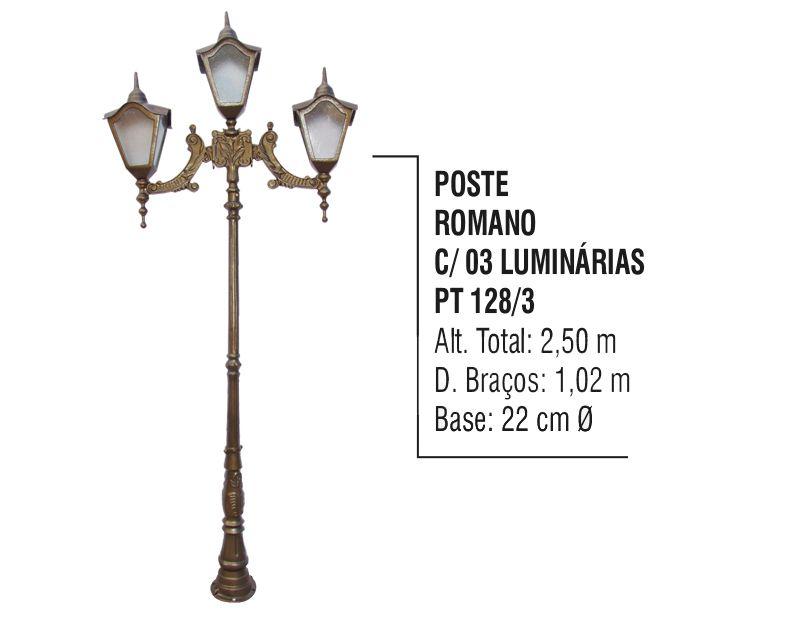 Poste Colonial Romano Jardim de Alumínio 03 Luminária 2,50m  - Panela de Ferro Fundido
