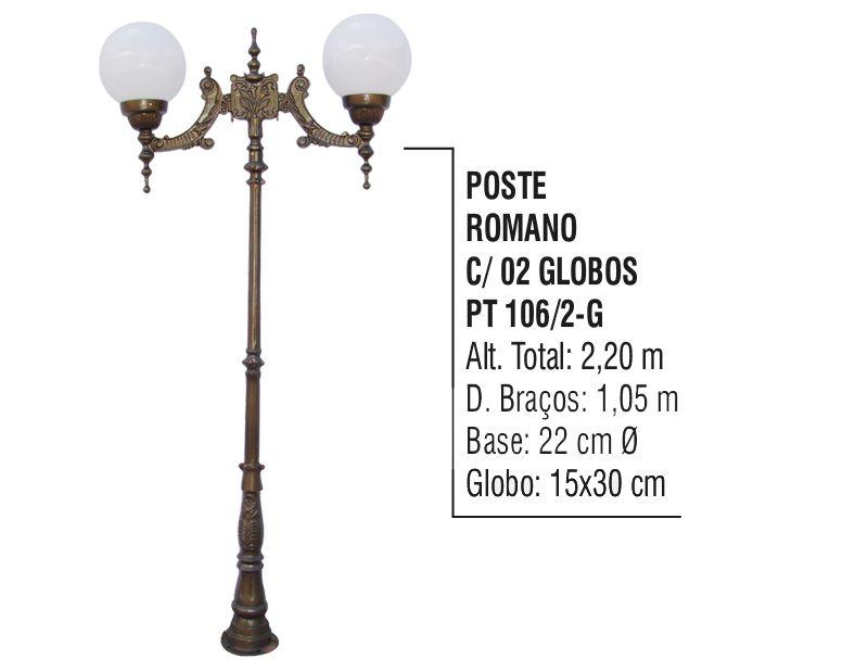 Poste Colonial Romano para Jardim Alumínio 02 Globo 2,20m  - Panela de Ferro Fundido