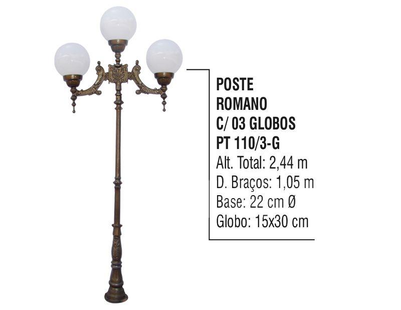 Poste Colonial Romano para Jardim Alumínio 03 Globo 2,44m  - Panela de Ferro Fundido