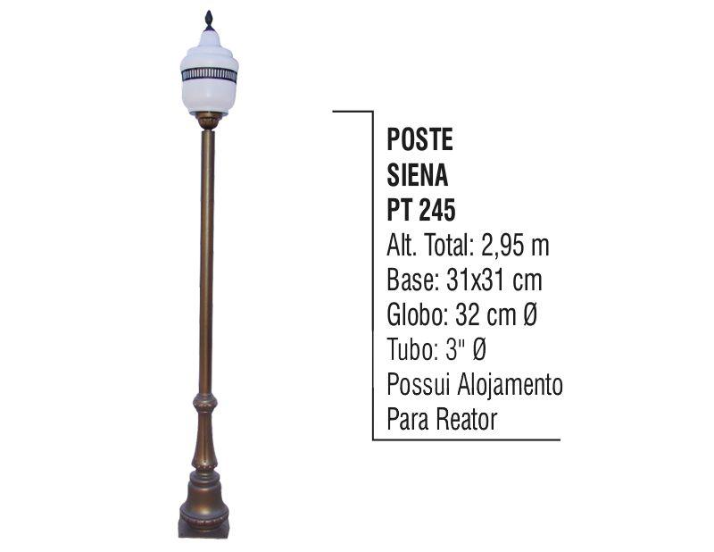 Poste Colonial Siena para Jardim de Alumínio 2,95m  - Panela de Ferro Fundido