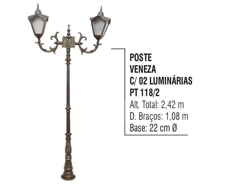 Poste Colonial Veneza Jardim de Alumínio 02 Luminária 2,42m  - Panela de Ferro Fundido