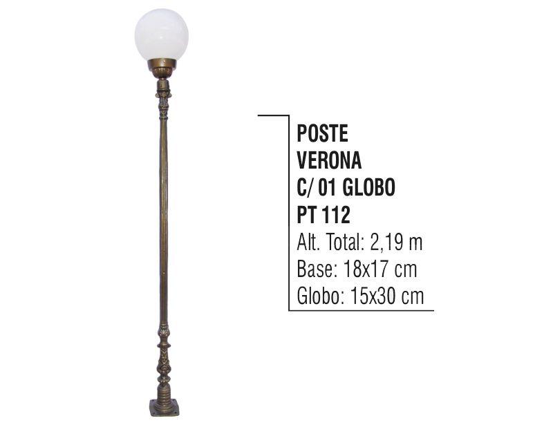 Poste Colonial Verona para Jardim de Alumínio 01 Globo 2,19m  - Panela de Ferro Fundido