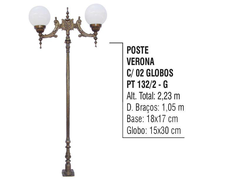 Poste Colonial Verona para Jardim de Alumínio 02 Globo 2,23m  - Panela de Ferro Fundido