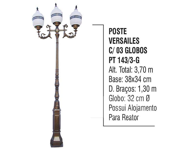 Poste Colonial Versailes Jardim de Alumínio 03 Globo 3,70m  - Panela de Ferro Fundido