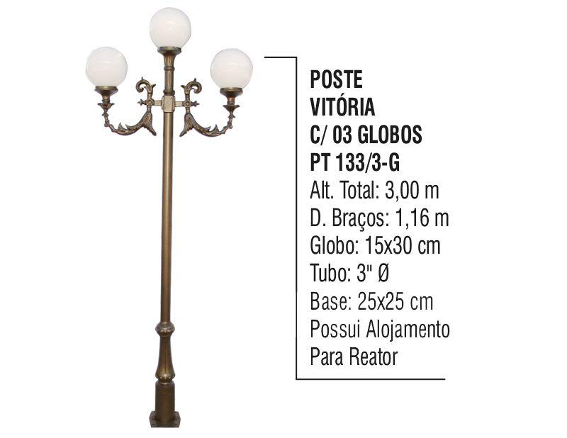 Poste Colonial Vitória para Jardim Alumínio 03 Globos 3,00m  - Panela de Ferro Fundido