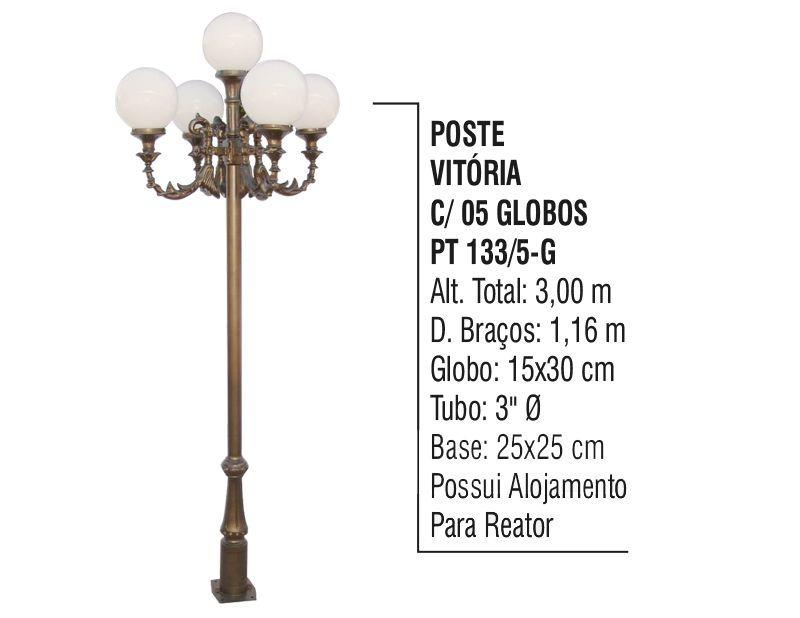Poste Colonial Vitória para Jardim Alumínio 05 Globos 3,00m  - Panela de Ferro Fundido