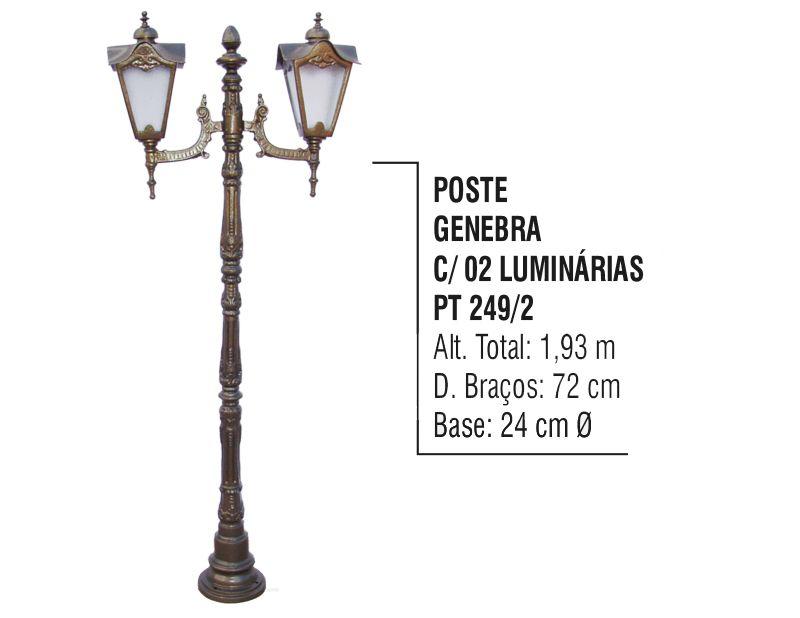 Poste Genebra para Jardim de Alumínio 02 Luminária 1,93m  - Panela de Ferro Fundido