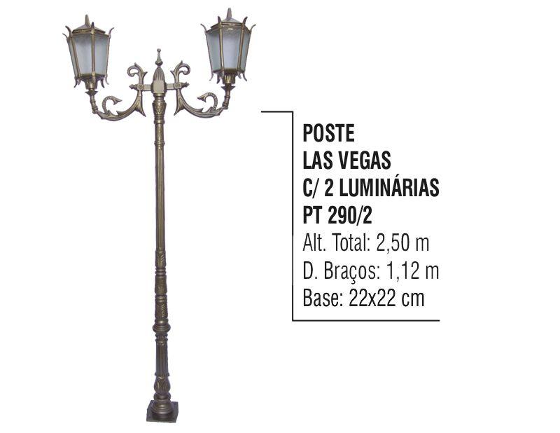 Poste Las Vegas para Jardim de Alumínio 02 Luminária 2,50m  - Panela de Ferro Fundido