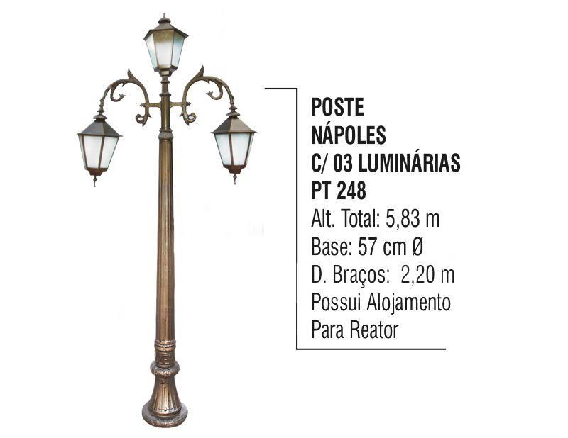 Poste Nápoles P/ Jardim de Alumínio 03 Luminárias 5,83m  - Panela de Ferro Fundido