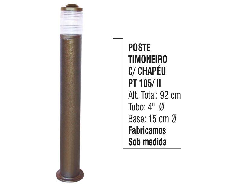 Poste Timoneiro com Chapéu Jardim em Tubo de Alumínio 92cm  - Panela de Ferro Fundido