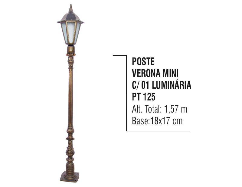 Poste Verona Mini para Jardim de Alumínio 01 Luminária 1,57m  - Panela de Ferro Fundido
