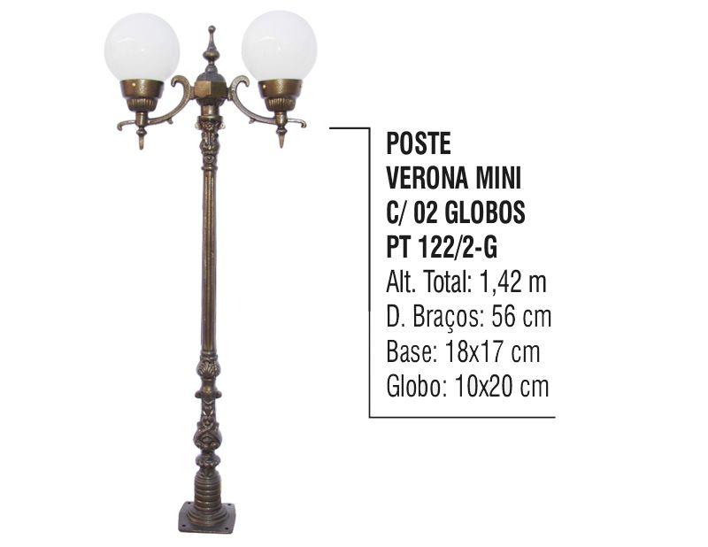 Poste Verona Mini para Jardim de Alumínio 02 Globos 1,42m  - Panela de Ferro Fundido