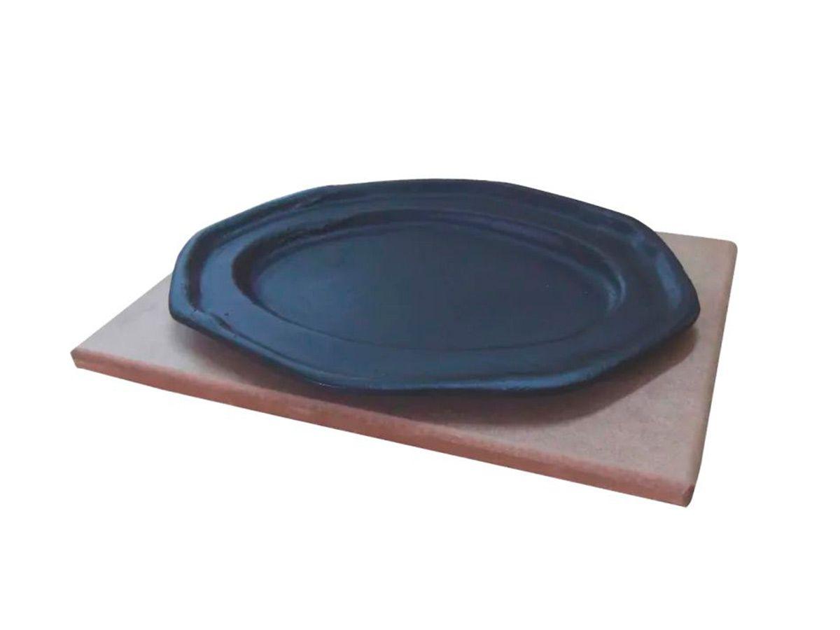 Tepan 26x16 Oval  De Ferro Fundido Com Aparador De Madeira  - Panela de Ferro Fundido