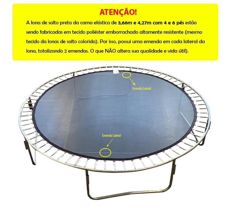 Lona de Salto para Cama Elástica de 3,66 m com 72 Ganchos Preta Emborrachada Canguri
