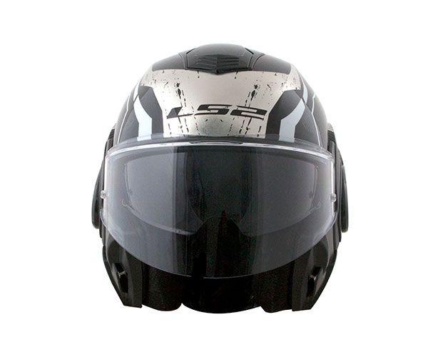 CAPACETE LS2 VALIANT FF399 ROBOTO - ESCAMOTEÁVEL - CHROMO TITANIUM