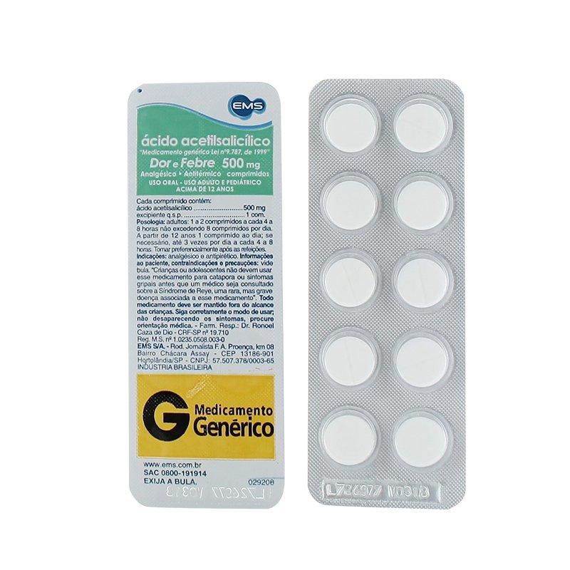 ACIDO ACETIL SALICILICO 500MG 10 COMPRIMIDOSEMS CX C/ 20