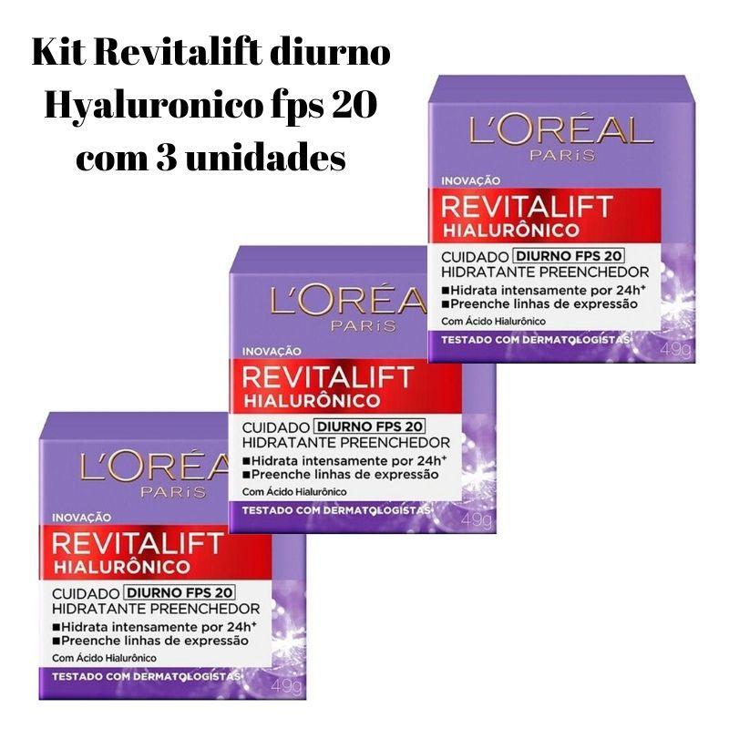 Kit Revitalift diurno Hialurônico fps 20 com 3 unidades