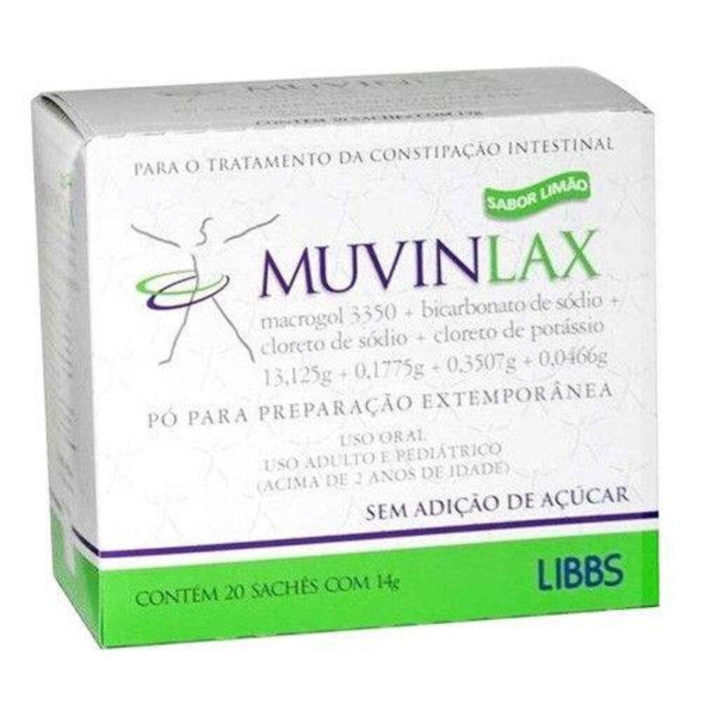 Muvinlax 20 sachês 14g sabor limão