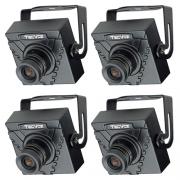 Kit com 4 câmeras Mini Câmera Tecvoz (420TVL | 1/3 | 3.6mm)