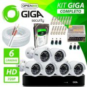 Kit Completo de Monitoramento com 6 Câmeras Open HD Giga Security