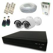 Kit Super Light 2 câmeras Bullet, DVR 4 canais, cabo, fonte e conectores
