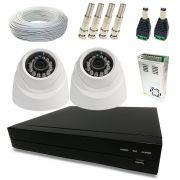 Kit Super Light 2 câmeras Dome, DVR 4 canais, cabo, fonte e conectores