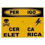 Placa de Alumínio Perigo Cerca Elétrica (Fixação Central)