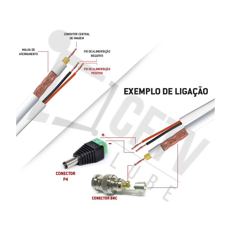 Cabo Coaxial 4mm Flexível Bipolar 80% Malha Cobre Telecam - 300 Metros